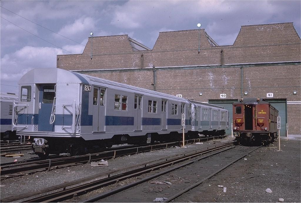 (266k, 1024x693)<br><b>Country:</b> United States<br><b>City:</b> New York<br><b>System:</b> New York City Transit<br><b>Location:</b> Coney Island Yard<br><b>Car:</b> R-27 (St. Louis, 1960)  8247 <br><b>Photo by:</b> Steve Zabel<br><b>Collection of:</b> Joe Testagrose<br><b>Date:</b> 3/30/1971<br><b>Viewed (this week/total):</b> 0 / 1736