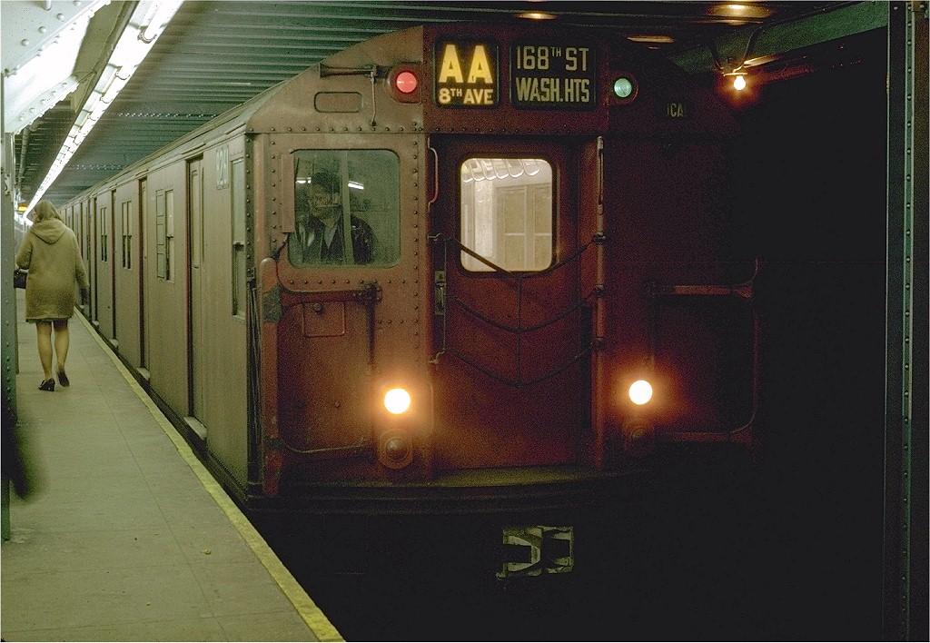 (209k, 1024x708)<br><b>Country:</b> United States<br><b>City:</b> New York<br><b>System:</b> New York City Transit<br><b>Line:</b> IND 8th Avenue Line<br><b>Location:</b> Chambers Street/World Trade Center <br><b>Route:</b> AA<br><b>Car:</b> R-30 (St. Louis, 1961) 8261 <br><b>Photo by:</b> Joe Testagrose<br><b>Date:</b> 1/30/1970<br><b>Viewed (this week/total):</b> 6 / 2681