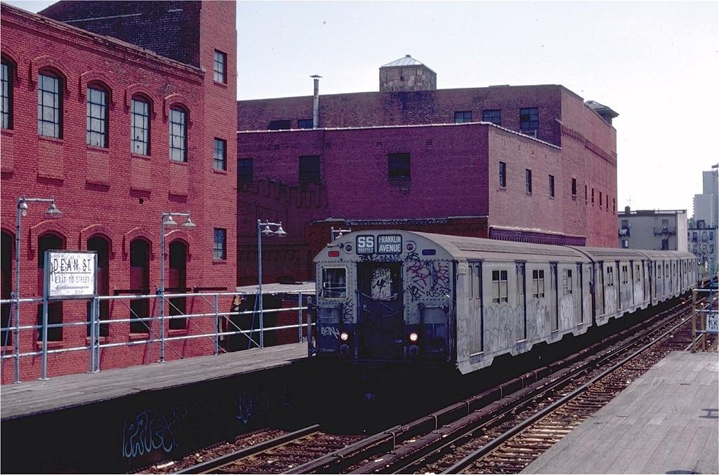 (238k, 1024x677)<br><b>Country:</b> United States<br><b>City:</b> New York<br><b>System:</b> New York City Transit<br><b>Line:</b> BMT Franklin<br><b>Location:</b> Dean Street <br><b>Route:</b> Franklin Shuttle<br><b>Car:</b> R-30 (St. Louis, 1961) 8352 <br><b>Photo by:</b> Steve Zabel<br><b>Collection of:</b> Joe Testagrose<br><b>Date:</b> 7/10/1982<br><b>Viewed (this week/total):</b> 2 / 5059