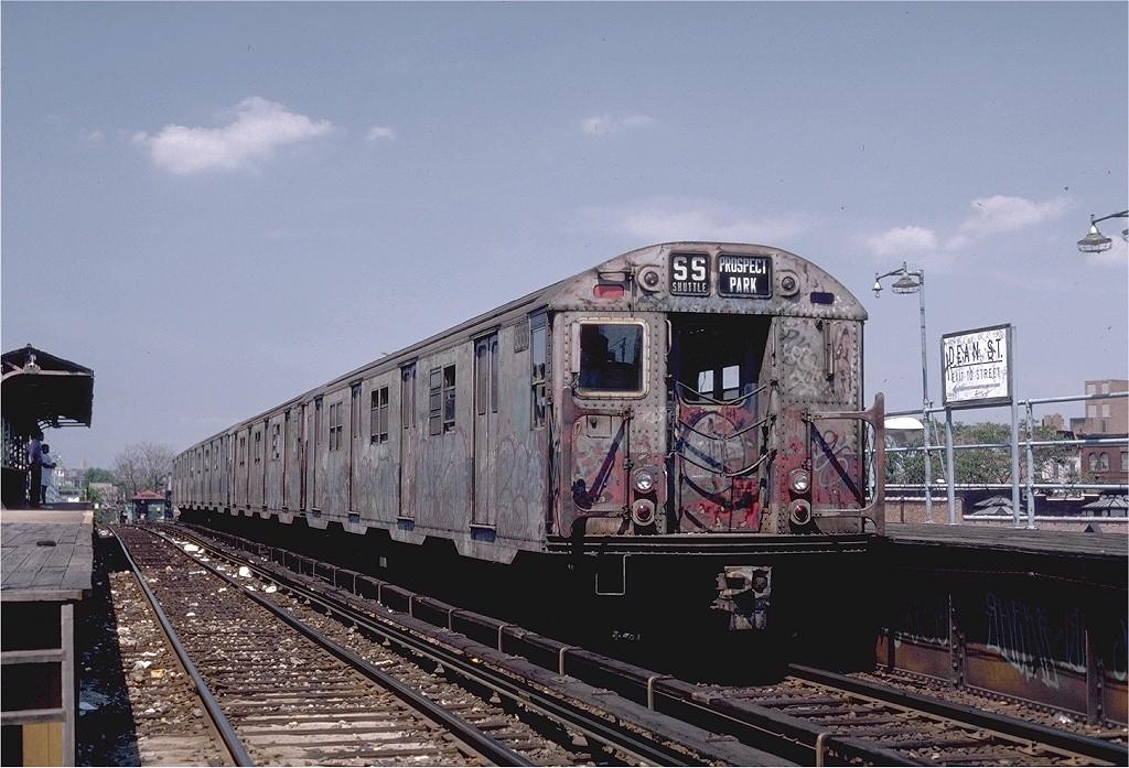(209k, 1024x697)<br><b>Country:</b> United States<br><b>City:</b> New York<br><b>System:</b> New York City Transit<br><b>Line:</b> BMT Franklin<br><b>Location:</b> Dean Street <br><b>Route:</b> Franklin Shuttle<br><b>Car:</b> R-30 (St. Louis, 1961) 8353 <br><b>Photo by:</b> Steve Zabel<br><b>Collection of:</b> Joe Testagrose<br><b>Date:</b> 7/10/1982<br><b>Viewed (this week/total):</b> 0 / 4397