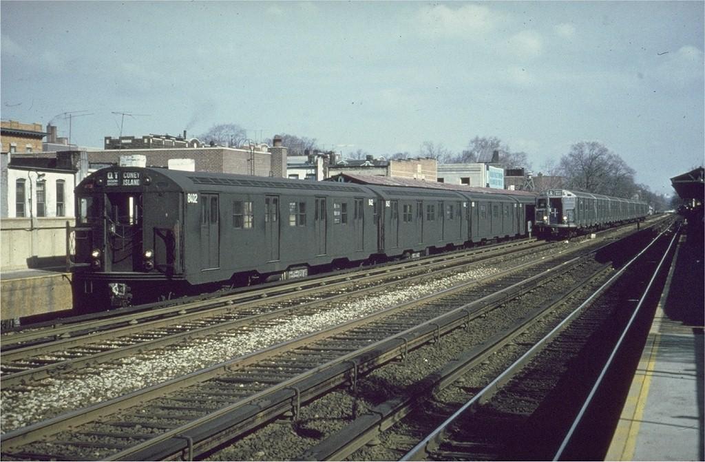 (208k, 1024x671)<br><b>Country:</b> United States<br><b>City:</b> New York<br><b>System:</b> New York City Transit<br><b>Line:</b> BMT Brighton Line<br><b>Location:</b> Avenue J <br><b>Route:</b> QT<br><b>Car:</b> R-30 (St. Louis, 1961) 8402 <br><b>Photo by:</b> Joe Testagrose<br><b>Date:</b> 4/1966<br><b>Viewed (this week/total):</b> 5 / 2454
