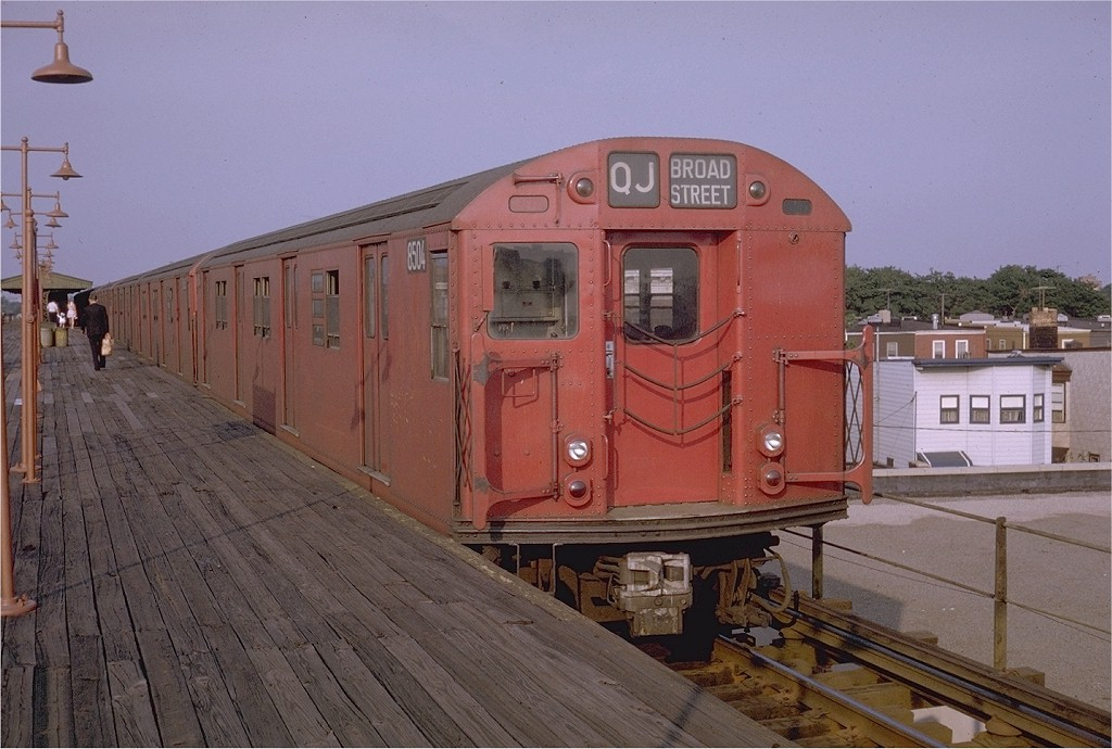 (190k, 1024x690)<br><b>Country:</b> United States<br><b>City:</b> New York<br><b>System:</b> New York City Transit<br><b>Line:</b> BMT Nassau Street/Jamaica Line<br><b>Location:</b> Crescent Street <br><b>Route:</b> QJ<br><b>Car:</b> R-30 (St. Louis, 1961) 8504 <br><b>Photo by:</b> Doug Grotjahn<br><b>Collection of:</b> Joe Testagrose<br><b>Date:</b> 7/6/1969<br><b>Viewed (this week/total):</b> 0 / 2570