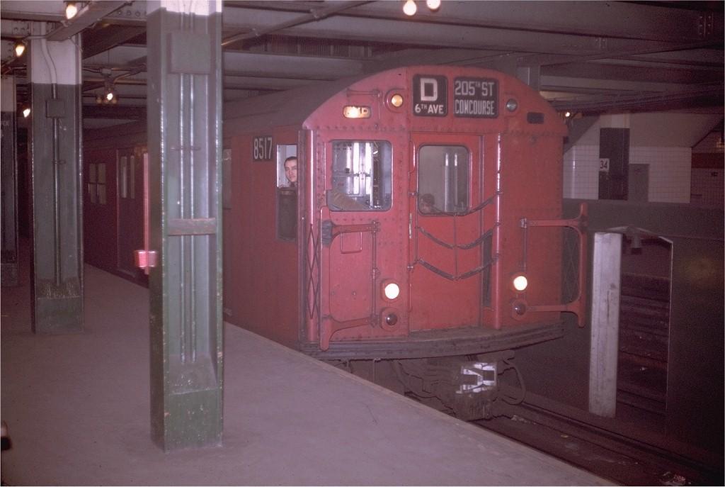 (155k, 1024x687)<br><b>Country:</b> United States<br><b>City:</b> New York<br><b>System:</b> New York City Transit<br><b>Line:</b> IND 6th Avenue Line<br><b>Location:</b> 34th Street/Herald Square <br><b>Route:</b> D<br><b>Car:</b> R-30 (St. Louis, 1961) 8517 <br><b>Photo by:</b> Doug Grotjahn<br><b>Collection of:</b> Joe Testagrose<br><b>Date:</b> 2/7/1970<br><b>Viewed (this week/total):</b> 1 / 2506
