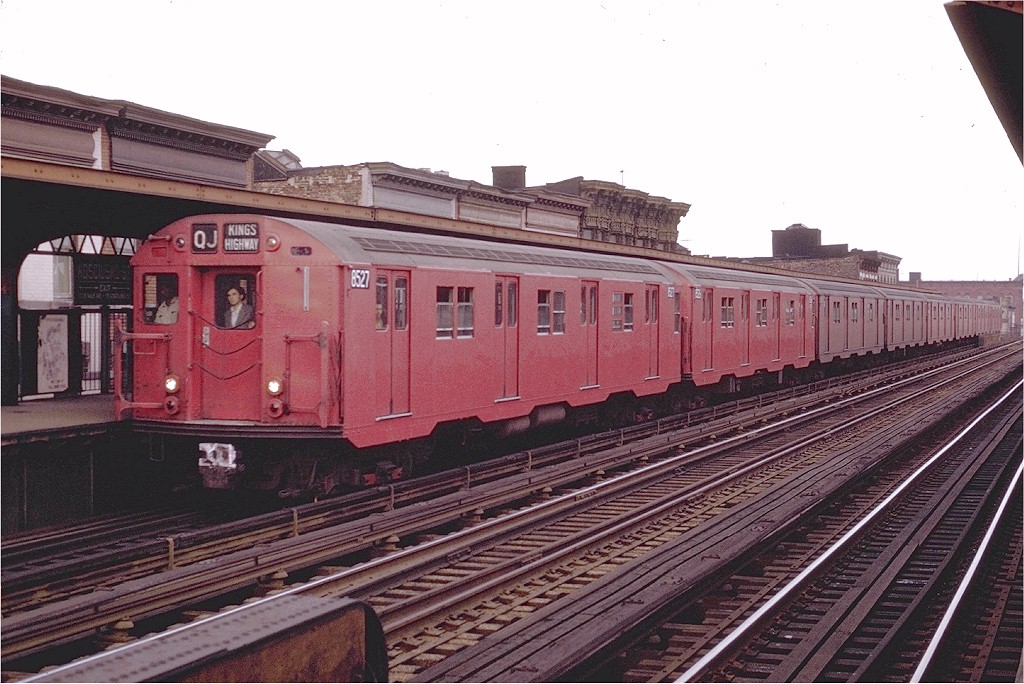 (211k, 1024x684)<br><b>Country:</b> United States<br><b>City:</b> New York<br><b>System:</b> New York City Transit<br><b>Line:</b> BMT Nassau Street/Jamaica Line<br><b>Location:</b> Kosciuszko Street <br><b>Route:</b> QJ<br><b>Car:</b> R-30 (St. Louis, 1961) 8527 <br><b>Photo by:</b> Joe Testagrose<br><b>Date:</b> 6/9/1970<br><b>Viewed (this week/total):</b> 3 / 1881