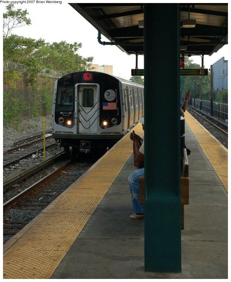 (206k, 762x929)<br><b>Country:</b> United States<br><b>City:</b> New York<br><b>System:</b> New York City Transit<br><b>Line:</b> BMT Canarsie Line<br><b>Location:</b> East 105th Street <br><b>Route:</b> L<br><b>Car:</b> R-143 (Kawasaki, 2001-2002) 8245 <br><b>Photo by:</b> Brian Weinberg<br><b>Date:</b> 5/28/2007<br><b>Notes:</b> Reconstructed station.<br><b>Viewed (this week/total):</b> 2 / 2064