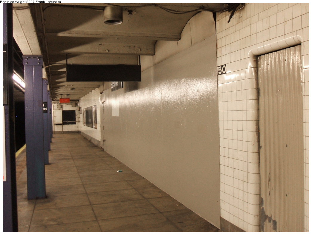 (132k, 1044x788)<br><b>Country:</b> United States<br><b>City:</b> New York<br><b>System:</b> New York City Transit<br><b>Line:</b> IND Queens Boulevard Line<br><b>Location:</b> 50th Street <br><b>Photo by:</b> Frank LeViness<br><b>Date:</b> 3/30/2007<br><b>Notes:</b> Former entrance/exit.<br><b>Viewed (this week/total):</b> 3 / 2448