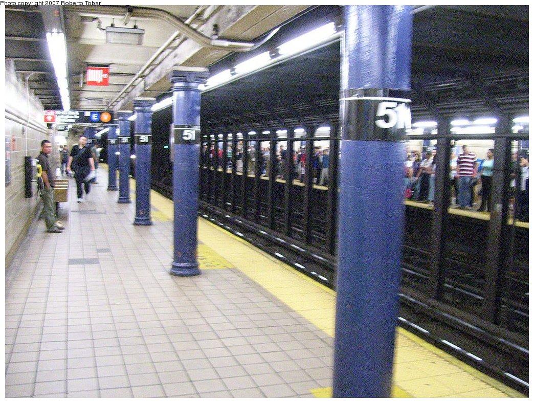 (251k, 1044x788)<br><b>Country:</b> United States<br><b>City:</b> New York<br><b>System:</b> New York City Transit<br><b>Line:</b> IRT East Side Line<br><b>Location:</b> 51st Street <br><b>Photo by:</b> Roberto C. Tobar<br><b>Date:</b> 6/1/2007<br><b>Viewed (this week/total):</b> 1 / 2412