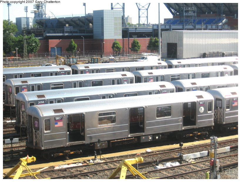 (141k, 820x620)<br><b>Country:</b> United States<br><b>City:</b> New York<br><b>System:</b> New York City Transit<br><b>Location:</b> Corona Yard<br><b>Car:</b> R-62A (Bombardier, 1984-1987)  1907 <br><b>Photo by:</b> Gary Chatterton<br><b>Date:</b> 5/23/2007<br><b>Viewed (this week/total):</b> 0 / 2573
