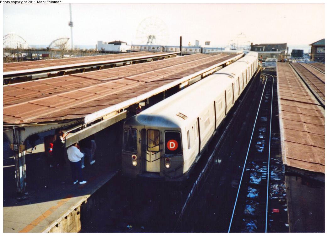 (341k, 1044x751)<br><b>Country:</b> United States<br><b>City:</b> New York<br><b>System:</b> New York City Transit<br><b>Location:</b> Coney Island/Stillwell Avenue<br><b>Route:</b> D<br><b>Car:</b> R-68/R-68A Series (Number Unknown)  <br><b>Photo by:</b> Mark S. Feinman<br><b>Date:</b> 11/22/1989<br><b>Viewed (this week/total):</b> 1 / 2167