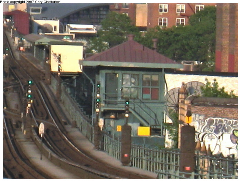 (112k, 820x620)<br><b>Country:</b> United States<br><b>City:</b> New York<br><b>System:</b> New York City Transit<br><b>Line:</b> IRT Flushing Line<br><b>Location:</b> 69th Street/Fisk Avenue <br><b>Photo by:</b> Gary Chatterton<br><b>Date:</b> 5/24/2007<br><b>Notes:</b> Fisk tower.<br><b>Viewed (this week/total):</b> 2 / 1629