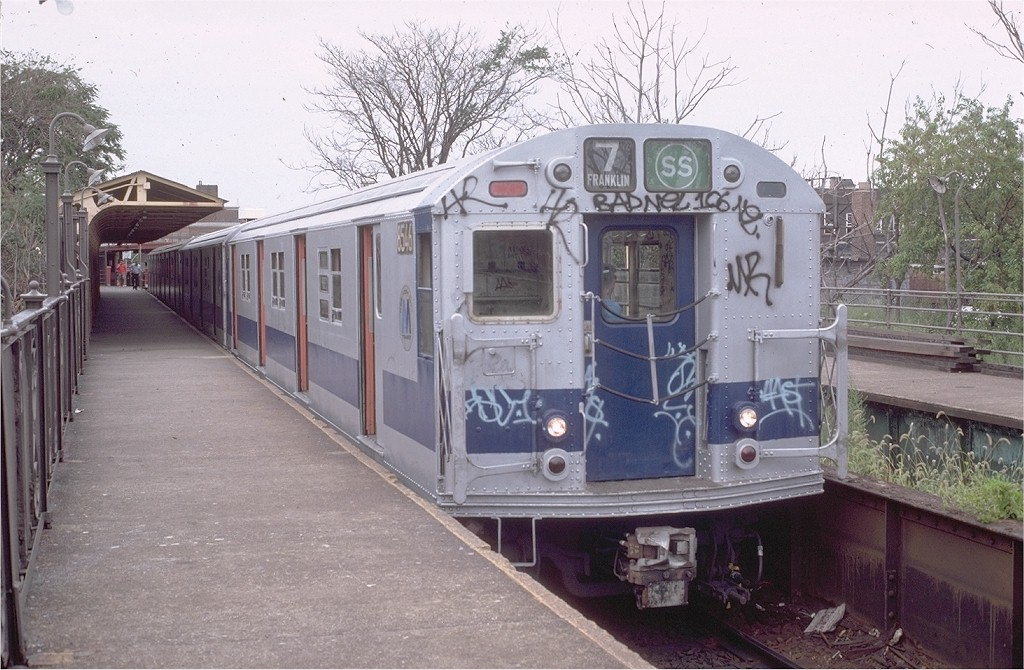(211k, 1024x670)<br><b>Country:</b> United States<br><b>City:</b> New York<br><b>System:</b> New York City Transit<br><b>Line:</b> BMT Franklin<br><b>Location:</b> Franklin Avenue <br><b>Route:</b> Franklin Shuttle<br><b>Car:</b> R-30 (St. Louis, 1961) 8546 <br><b>Photo by:</b> Doug Grotjahn<br><b>Collection of:</b> Joe Testagrose<br><b>Date:</b> 8/22/1981<br><b>Viewed (this week/total):</b> 0 / 2288