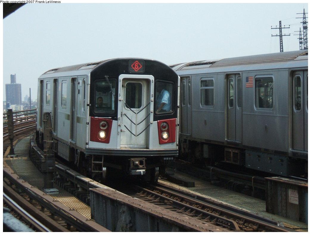 (152k, 1044x788)<br><b>Country:</b> United States<br><b>City:</b> New York<br><b>System:</b> New York City Transit<br><b>Line:</b> IRT Pelham Line<br><b>Location:</b> Whitlock Avenue <br><b>Route:</b> 6<br><b>Car:</b> R-142A (Primary Order, Kawasaki, 1999-2002)  7601 <br><b>Photo by:</b> Frank LeViness<br><b>Date:</b> 6/1/2006<br><b>Viewed (this week/total):</b> 0 / 2287