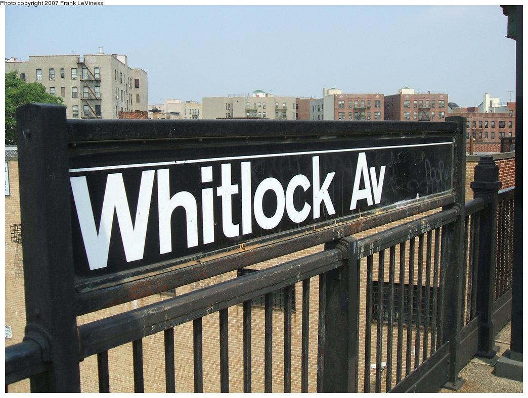 (189k, 1044x788)<br><b>Country:</b> United States<br><b>City:</b> New York<br><b>System:</b> New York City Transit<br><b>Line:</b> IRT Pelham Line<br><b>Location:</b> Whitlock Avenue <br><b>Photo by:</b> Frank LeViness<br><b>Date:</b> 6/1/2006<br><b>Notes:</b> Sign mounted on platform edge railing.<br><b>Viewed (this week/total):</b> 3 / 1245