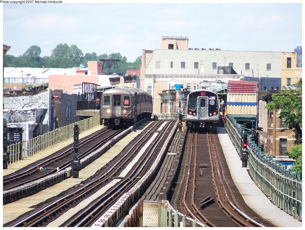 (284k, 1044x788)<br><b>Country:</b> United States<br><b>City:</b> New York<br><b>System:</b> New York City Transit<br><b>Line:</b> BMT West End Line<br><b>Location:</b> 55th Street <br><b>Route:</b> D<br><b>Car:</b> R-68 (Westinghouse-Amrail, 1986-1988)  2716 <br><b>Photo by:</b> Michael Hodurski<br><b>Date:</b> 6/6/2007<br><b>Notes:</b> With R160B 8723 on right.<br><b>Viewed (this week/total):</b> 0 / 2679