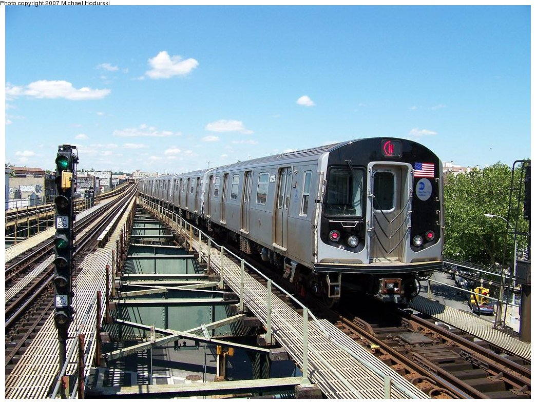 (252k, 1044x788)<br><b>Country:</b> United States<br><b>City:</b> New York<br><b>System:</b> New York City Transit<br><b>Line:</b> BMT West End Line<br><b>Location:</b> 62nd Street <br><b>Route:</b> N<br><b>Car:</b> R-160B (Kawasaki, 2005-2008)  8723 <br><b>Photo by:</b> Michael Hodurski<br><b>Date:</b> 6/6/2007<br><b>Viewed (this week/total):</b> 0 / 2141