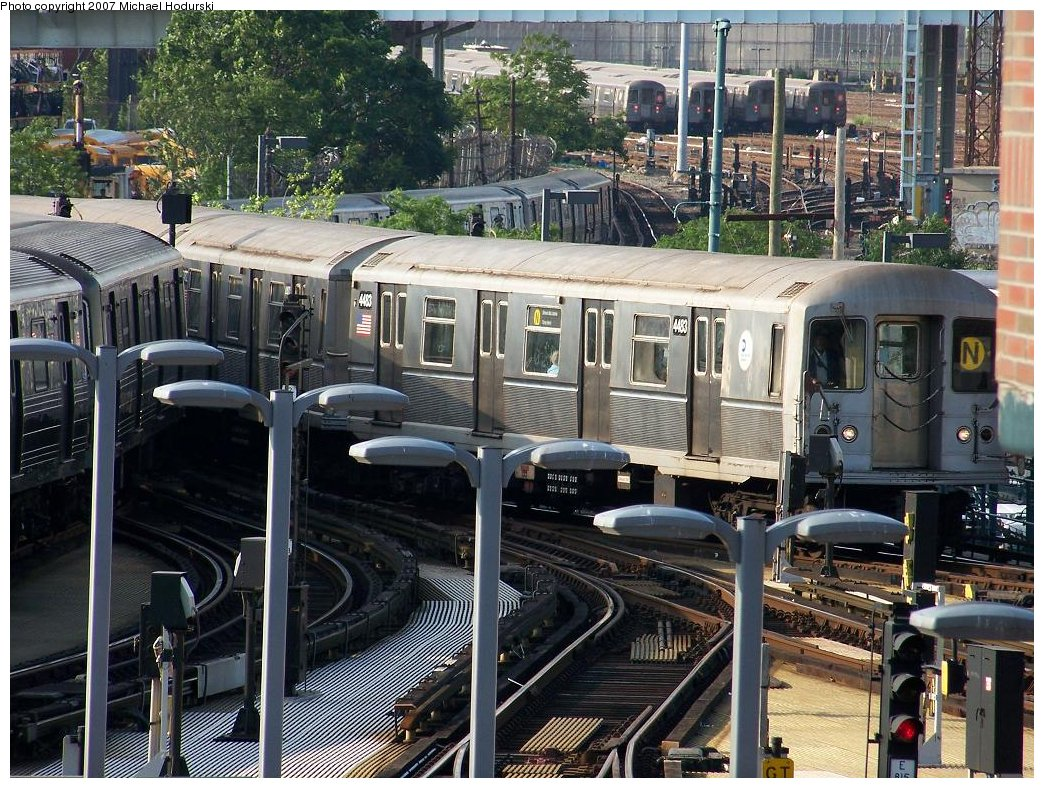 (266k, 1044x788)<br><b>Country:</b> United States<br><b>City:</b> New York<br><b>System:</b> New York City Transit<br><b>Location:</b> Coney Island/Stillwell Avenue<br><b>Route:</b> N<br><b>Car:</b> R-40M (St. Louis, 1969)  4483 <br><b>Photo by:</b> Michael Hodurski<br><b>Date:</b> 6/5/2007<br><b>Viewed (this week/total):</b> 4 / 2080