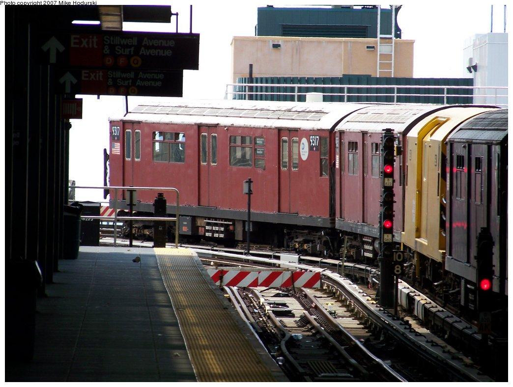 (174k, 1044x788)<br><b>Country:</b> United States<br><b>City:</b> New York<br><b>System:</b> New York City Transit<br><b>Location:</b> Coney Island/Stillwell Avenue<br><b>Route:</b> Work Service<br><b>Car:</b> R-33 World's Fair (St. Louis, 1963-64) 9317 <br><b>Photo by:</b> Michael Hodurski<br><b>Date:</b> 6/7/2007<br><b>Viewed (this week/total):</b> 0 / 2180