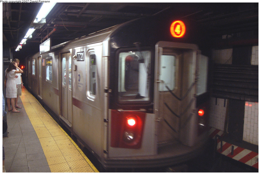 (171k, 1044x701)<br><b>Country:</b> United States<br><b>City:</b> New York<br><b>System:</b> New York City Transit<br><b>Line:</b> IRT East Side Line<br><b>Location:</b> 14th Street/Union Square <br><b>Route:</b> 4<br><b>Car:</b> R-142A (Option Order, Kawasaki, 2002-2003)  7721 <br><b>Photo by:</b> David Pirmann<br><b>Date:</b> 6/9/2007<br><b>Viewed (this week/total):</b> 9 / 3844