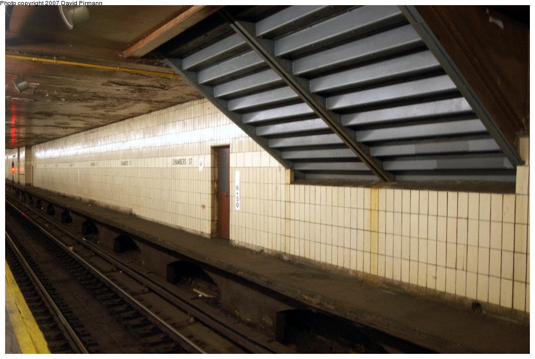 (184k, 1044x701)<br><b>Country:</b> United States<br><b>City:</b> New York<br><b>System:</b> New York City Transit<br><b>Line:</b> BMT Nassau Street/Jamaica Line<br><b>Location:</b> Chambers Street <br><b>Photo by:</b> David Pirmann<br><b>Date:</b> 6/9/2007<br><b>Notes:</b> View of stairway from northern transfer corridor from IRT station into north mezzanine of BMT Chambers St.<br><b>Viewed (this week/total):</b> 1 / 3156