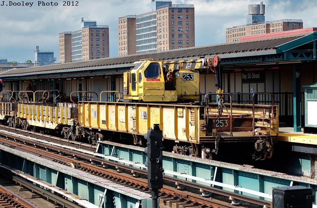 (434k, 1024x673)<br><b>Country:</b> United States<br><b>City:</b> New York<br><b>System:</b> New York City Transit<br><b>Line:</b> BMT West End Line<br><b>Location:</b> Bay 50th Street <br><b>Route:</b> Work Service<br><b>Car:</b> Crane Car 253 <br><b>Photo by:</b> John Dooley<br><b>Date:</b> 7/29/2012<br><b>Viewed (this week/total):</b> 1 / 950