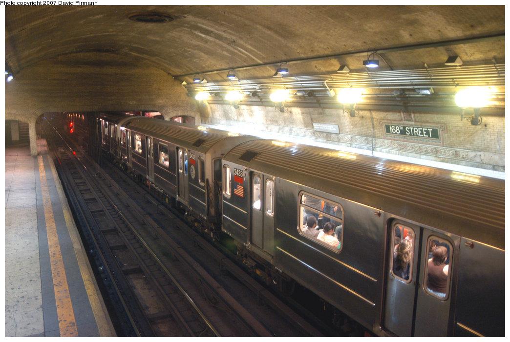 (213k, 1044x701)<br><b>Country:</b> United States<br><b>City:</b> New York<br><b>System:</b> New York City Transit<br><b>Line:</b> IRT West Side Line<br><b>Location:</b> 168th Street <br><b>Route:</b> 1<br><b>Car:</b> R-62A (Bombardier, 1984-1987)  2433 <br><b>Photo by:</b> David Pirmann<br><b>Date:</b> 6/9/2007<br><b>Viewed (this week/total):</b> 0 / 3742