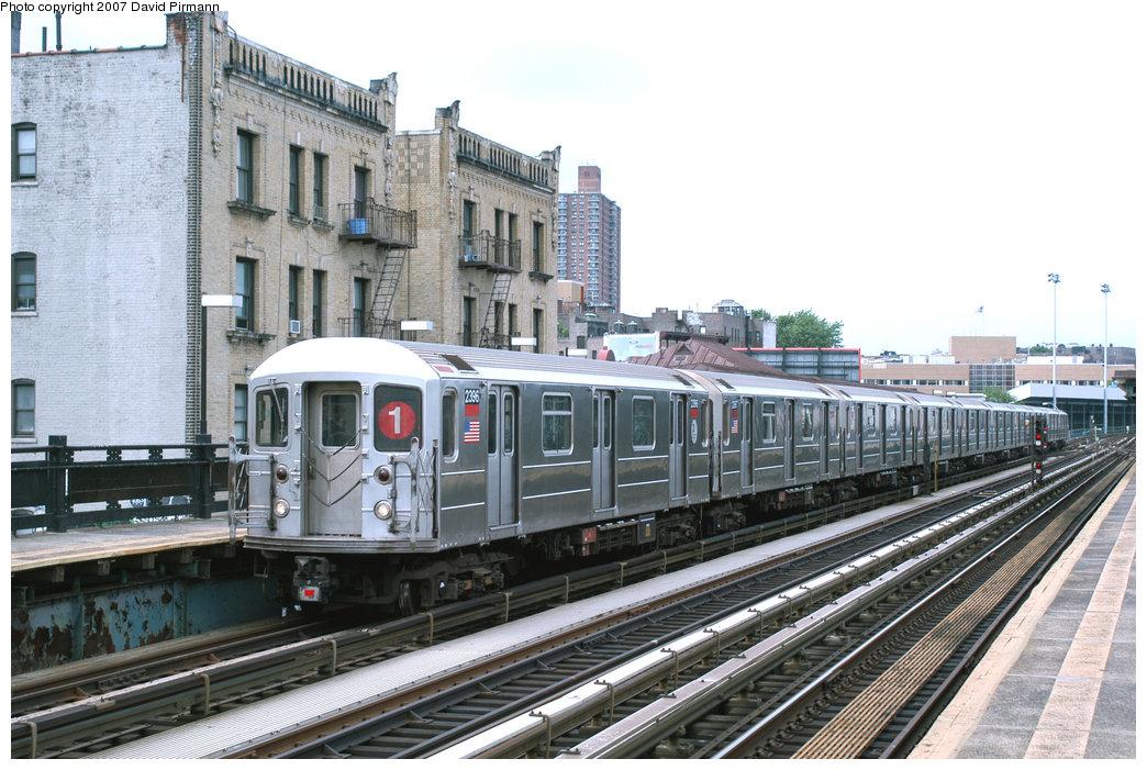 (243k, 1044x701)<br><b>Country:</b> United States<br><b>City:</b> New York<br><b>System:</b> New York City Transit<br><b>Line:</b> IRT West Side Line<br><b>Location:</b> 215th Street <br><b>Route:</b> 1<br><b>Car:</b> R-62A (Bombardier, 1984-1987)  2396 <br><b>Photo by:</b> David Pirmann<br><b>Date:</b> 6/9/2007<br><b>Viewed (this week/total):</b> 2 / 1913