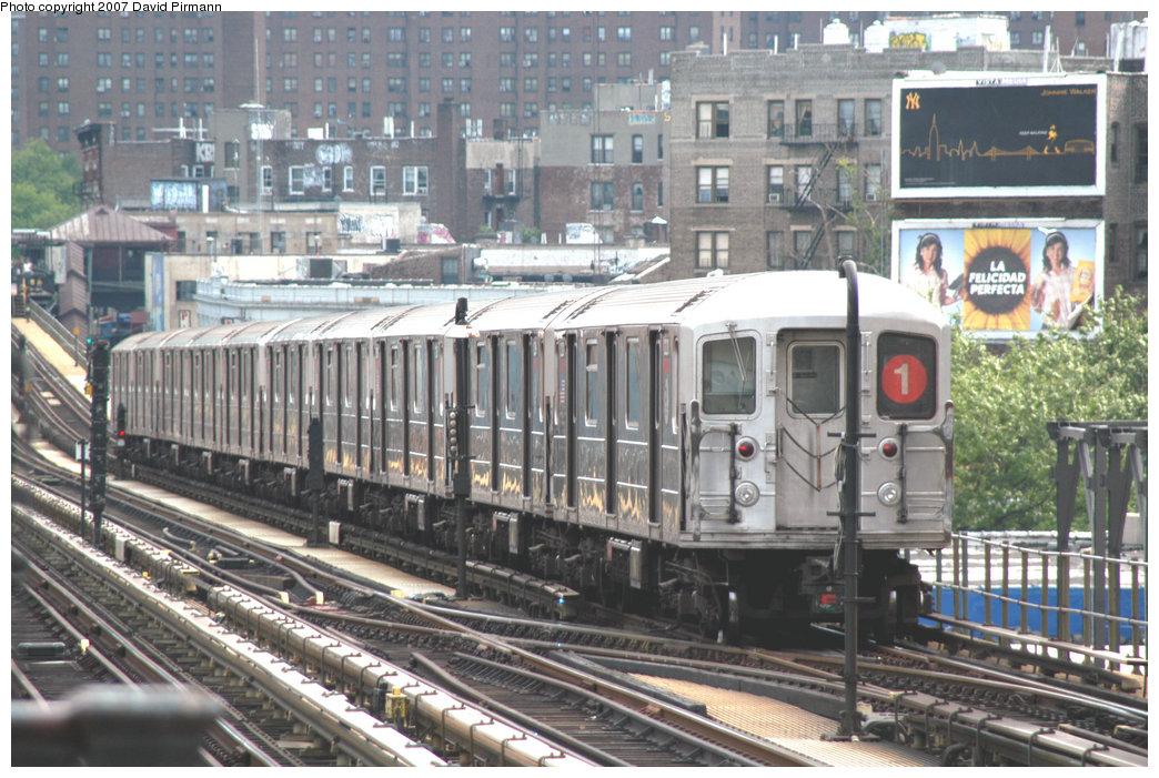 (265k, 1044x701)<br><b>Country:</b> United States<br><b>City:</b> New York<br><b>System:</b> New York City Transit<br><b>Line:</b> IRT West Side Line<br><b>Location:</b> 215th Street <br><b>Route:</b> 1<br><b>Car:</b> R-62A (Bombardier, 1984-1987)   <br><b>Photo by:</b> David Pirmann<br><b>Date:</b> 6/9/2007<br><b>Viewed (this week/total):</b> 2 / 2038