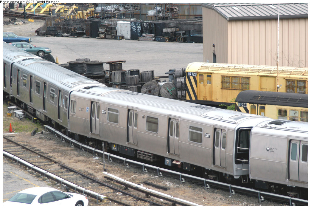 (245k, 1044x701)<br><b>Country:</b> United States<br><b>City:</b> New York<br><b>System:</b> New York City Transit<br><b>Location:</b> 207th Street Yard<br><b>Car:</b> R-110B (Bombardier, 1992) 3007 <br><b>Photo by:</b> David Pirmann<br><b>Date:</b> 6/9/2007<br><b>Notes:</b> R110B test train on scrap line at 207th St.<br><b>Viewed (this week/total):</b> 0 / 4364