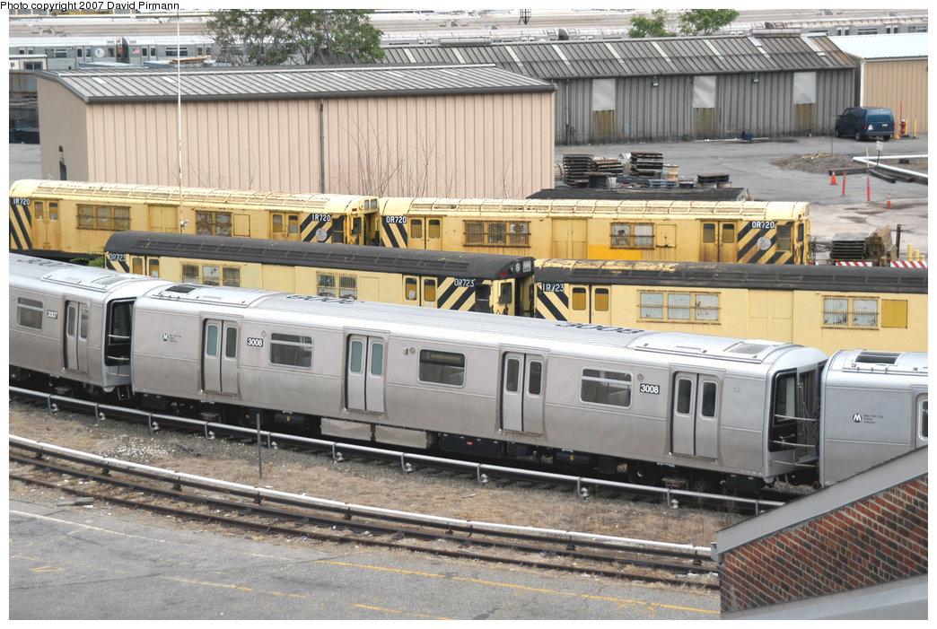 (255k, 1044x701)<br><b>Country:</b> United States<br><b>City:</b> New York<br><b>System:</b> New York City Transit<br><b>Location:</b> 207th Street Yard<br><b>Car:</b> R-110B (Bombardier, 1992) 3008 <br><b>Photo by:</b> David Pirmann<br><b>Date:</b> 6/9/2007<br><b>Notes:</b> R110B test train on scrap line at 207th St.<br><b>Viewed (this week/total):</b> 5 / 2965