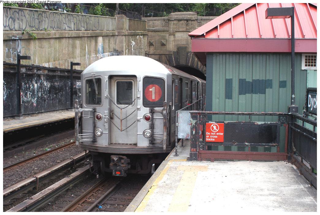 (240k, 1044x701)<br><b>Country:</b> United States<br><b>City:</b> New York<br><b>System:</b> New York City Transit<br><b>Line:</b> IRT West Side Line<br><b>Location:</b> Dyckman Street <br><b>Route:</b> 1<br><b>Car:</b> R-62A (Bombardier, 1984-1987)  2355 <br><b>Photo by:</b> David Pirmann<br><b>Date:</b> 6/9/2007<br><b>Viewed (this week/total):</b> 2 / 2094