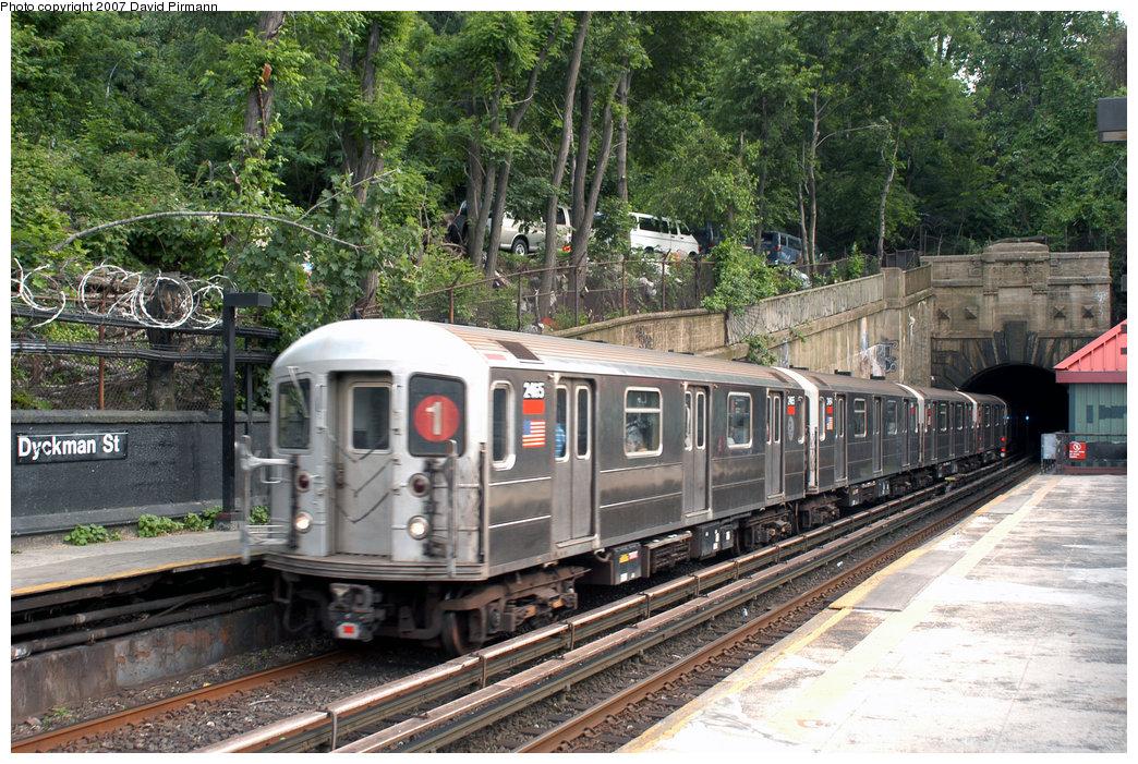 (324k, 1044x701)<br><b>Country:</b> United States<br><b>City:</b> New York<br><b>System:</b> New York City Transit<br><b>Line:</b> IRT West Side Line<br><b>Location:</b> Dyckman Street <br><b>Route:</b> 1<br><b>Car:</b> R-62A (Bombardier, 1984-1987)  2465 <br><b>Photo by:</b> David Pirmann<br><b>Date:</b> 6/9/2007<br><b>Viewed (this week/total):</b> 1 / 2439