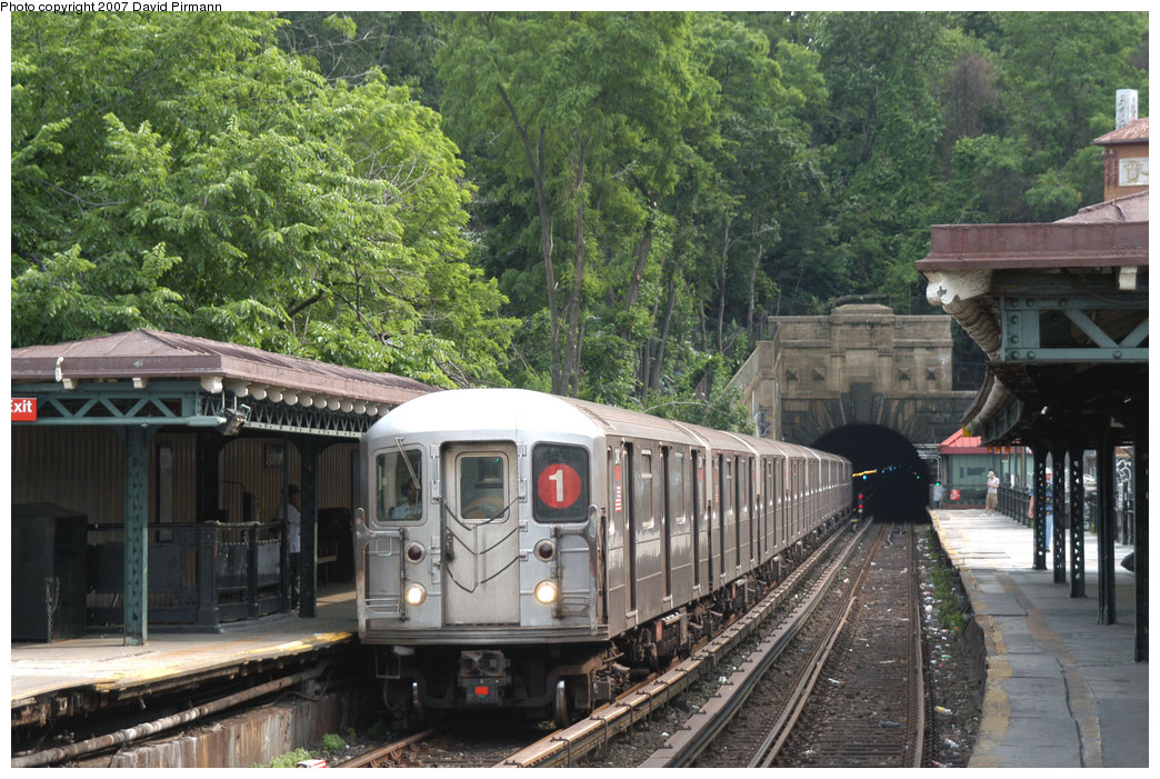 (279k, 1044x701)<br><b>Country:</b> United States<br><b>City:</b> New York<br><b>System:</b> New York City Transit<br><b>Line:</b> IRT West Side Line<br><b>Location:</b> Dyckman Street <br><b>Route:</b> 1<br><b>Car:</b> R-62A (Bombardier, 1984-1987)  2341 <br><b>Photo by:</b> David Pirmann<br><b>Date:</b> 6/9/2007<br><b>Viewed (this week/total):</b> 2 / 2290