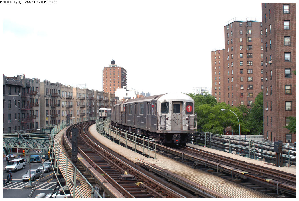 (250k, 1044x701)<br><b>Country:</b> United States<br><b>City:</b> New York<br><b>System:</b> New York City Transit<br><b>Line:</b> IRT West Side Line<br><b>Location:</b> Dyckman Street <br><b>Route:</b> 1<br><b>Car:</b> R-62A (Bombardier, 1984-1987)  1876 <br><b>Photo by:</b> David Pirmann<br><b>Date:</b> 6/9/2007<br><b>Viewed (this week/total):</b> 1 / 1847