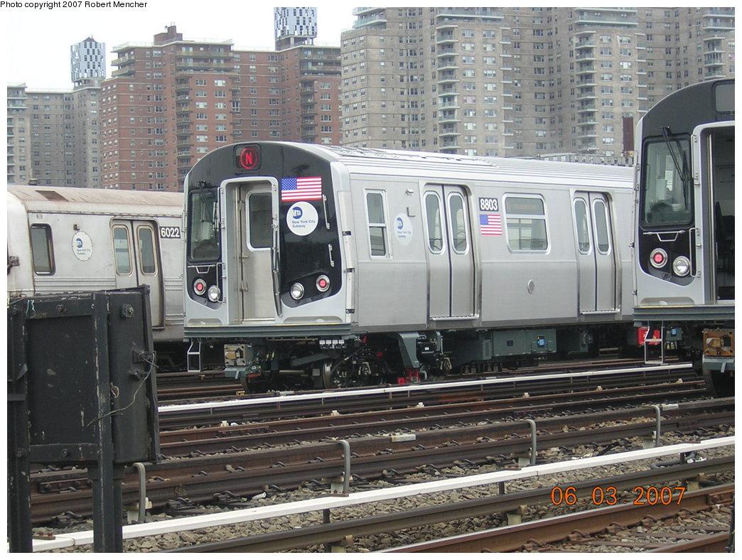 (243k, 1044x788)<br><b>Country:</b> United States<br><b>City:</b> New York<br><b>System:</b> New York City Transit<br><b>Location:</b> Coney Island Yard<br><b>Car:</b> R-160B (Kawasaki, 2005-2008)  8803 <br><b>Photo by:</b> Robert Mencher<br><b>Date:</b> 6/3/2007<br><b>Viewed (this week/total):</b> 0 / 2223