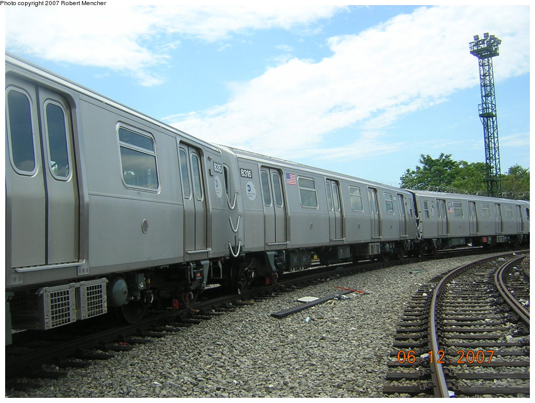 (219k, 1044x788)<br><b>Country:</b> United States<br><b>City:</b> New York<br><b>System:</b> New York City Transit<br><b>Location:</b> Rockaway Parkway (Canarsie) Yard<br><b>Car:</b> R-160A-1 (Alstom, 2005-2008, 4 car sets)  8316 <br><b>Photo by:</b> Robert Mencher<br><b>Date:</b> 6/12/2007<br><b>Viewed (this week/total):</b> 1 / 1739