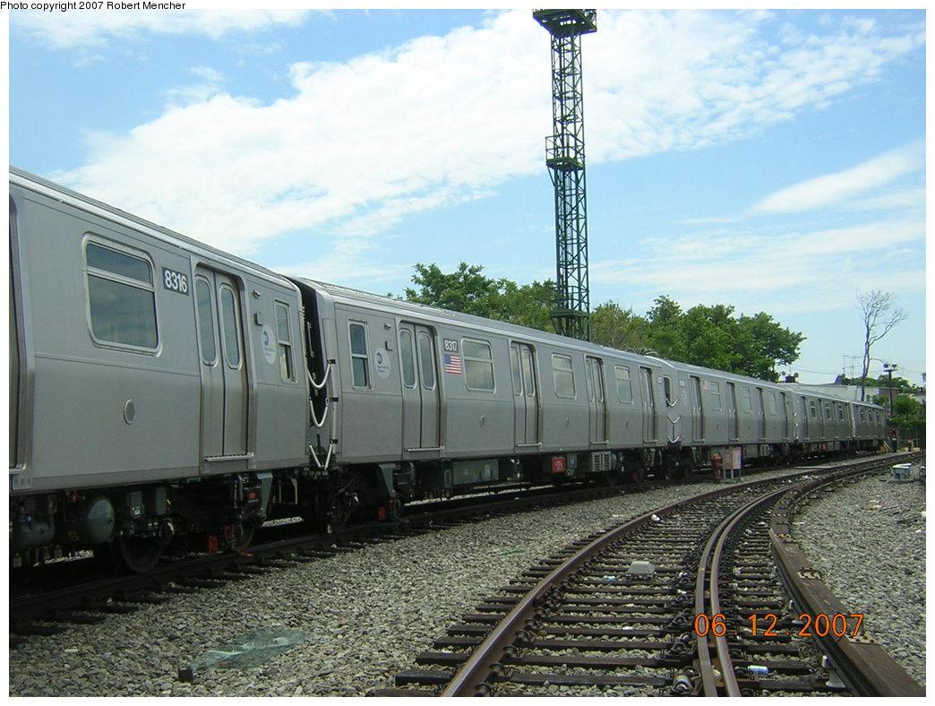 (220k, 1044x788)<br><b>Country:</b> United States<br><b>City:</b> New York<br><b>System:</b> New York City Transit<br><b>Location:</b> Rockaway Parkway (Canarsie) Yard<br><b>Car:</b> R-160A-1 (Alstom, 2005-2008, 4 car sets)  8317 <br><b>Photo by:</b> Robert Mencher<br><b>Date:</b> 6/12/2007<br><b>Viewed (this week/total):</b> 1 / 2800