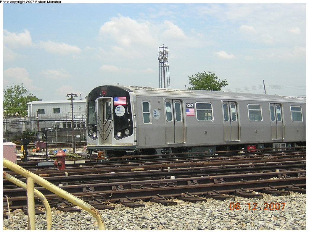 (225k, 1044x788)<br><b>Country:</b> United States<br><b>City:</b> New York<br><b>System:</b> New York City Transit<br><b>Location:</b> Rockaway Parkway (Canarsie) Yard<br><b>Car:</b> R-160A-1 (Alstom, 2005-2008, 4 car sets)  8332 <br><b>Photo by:</b> Robert Mencher<br><b>Date:</b> 6/12/2007<br><b>Viewed (this week/total):</b> 2 / 2992