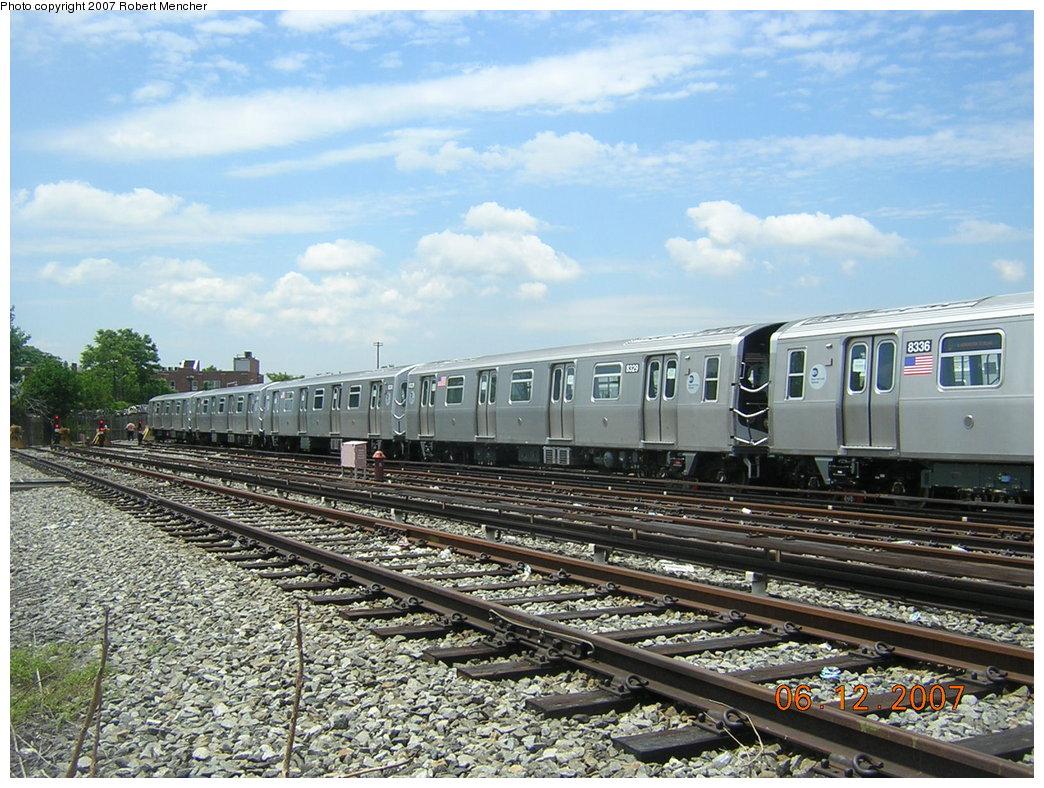 (252k, 1044x788)<br><b>Country:</b> United States<br><b>City:</b> New York<br><b>System:</b> New York City Transit<br><b>Location:</b> Rockaway Parkway (Canarsie) Yard<br><b>Car:</b> R-160A-1 (Alstom, 2005-2008, 4 car sets)  8329 <br><b>Photo by:</b> Robert Mencher<br><b>Date:</b> 6/12/2007<br><b>Viewed (this week/total):</b> 0 / 1738
