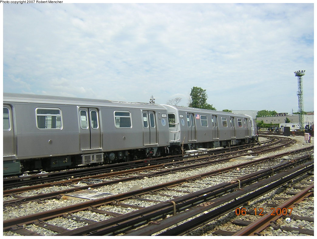 (220k, 1044x788)<br><b>Country:</b> United States<br><b>City:</b> New York<br><b>System:</b> New York City Transit<br><b>Location:</b> Rockaway Parkway (Canarsie) Yard<br><b>Car:</b> R-160A-1 (Alstom, 2005-2008, 4 car sets)  8334 <br><b>Photo by:</b> Robert Mencher<br><b>Date:</b> 6/12/2007<br><b>Viewed (this week/total):</b> 0 / 2492