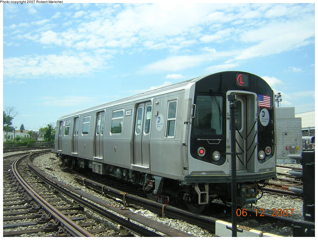 (216k, 1044x788)<br><b>Country:</b> United States<br><b>City:</b> New York<br><b>System:</b> New York City Transit<br><b>Location:</b> Rockaway Parkway (Canarsie) Yard<br><b>Car:</b> R-160A-1 (Alstom, 2005-2008, 4 car sets)  8333 <br><b>Photo by:</b> Robert Mencher<br><b>Date:</b> 6/12/2007<br><b>Viewed (this week/total):</b> 0 / 2301