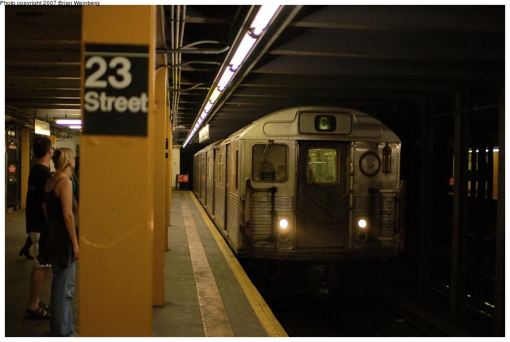 (163k, 1044x700)<br><b>Country:</b> United States<br><b>City:</b> New York<br><b>System:</b> New York City Transit<br><b>Line:</b> IND 8th Avenue Line<br><b>Location:</b> 23rd Street <br><b>Route:</b> C<br><b>Car:</b> R-38 (St. Louis, 1966-1967)   <br><b>Photo by:</b> Brian Weinberg<br><b>Date:</b> 6/8/2007<br><b>Viewed (this week/total):</b> 0 / 3078