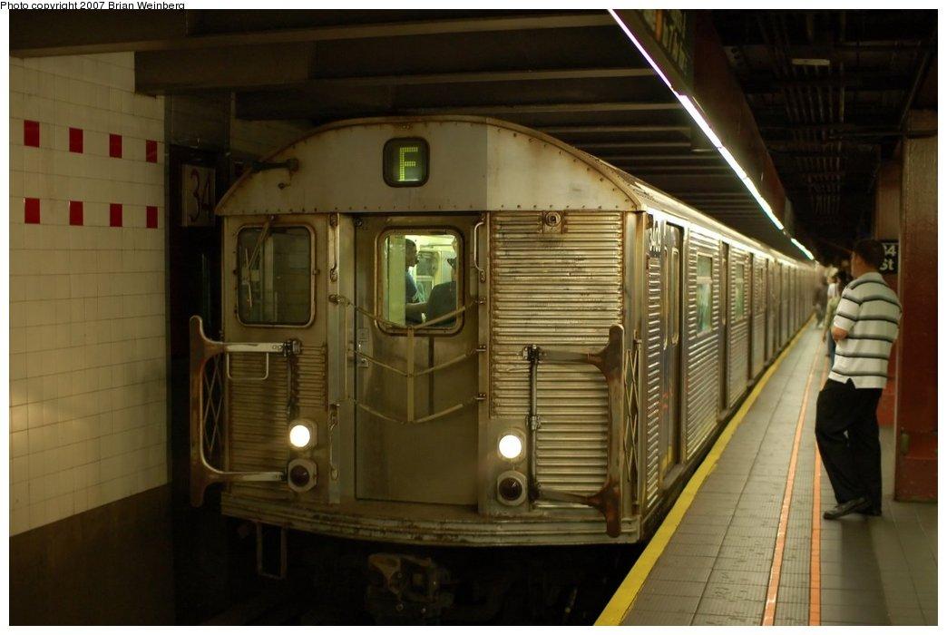 (174k, 1044x700)<br><b>Country:</b> United States<br><b>City:</b> New York<br><b>System:</b> New York City Transit<br><b>Line:</b> IND 6th Avenue Line<br><b>Location:</b> 34th Street/Herald Square <br><b>Route:</b> F<br><b>Car:</b> R-32 (Budd, 1964)  3409 <br><b>Photo by:</b> Brian Weinberg<br><b>Date:</b> 6/8/2007<br><b>Viewed (this week/total):</b> 0 / 2999