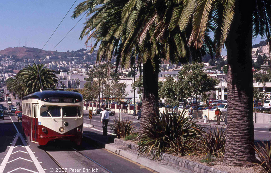 (254k, 864x552)<br><b>Country:</b> United States<br><b>City:</b> San Francisco/Bay Area, CA<br><b>System:</b> SF MUNI<br><b>Location:</b> Market/Dolores <br><b>Car:</b> SF MUNI PCC Torpedo Double-End (St. Louis Car Co., 1948)  1007 <br><b>Photo by:</b> Peter Ehrlich<br><b>Date:</b> 9/11/1998<br><b>Notes:</b> Market/Dolores inbound.<br><b>Viewed (this week/total):</b> 1 / 596