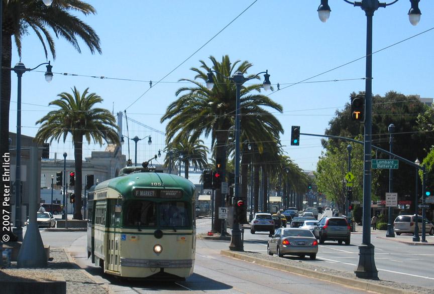 (209k, 864x586)<br><b>Country:</b> United States<br><b>City:</b> San Francisco/Bay Area, CA<br><b>System:</b> SF MUNI<br><b>Location:</b> Embarcadero/Sansome <br><b>Car:</b> SF MUNI PCC (Ex-SEPTA) (St. Louis Car Co., 1947-1948)  1051 <br><b>Photo by:</b> Peter Ehrlich<br><b>Date:</b> 6/7/2007<br><b>Notes:</b> Approaching Embarcadero/Sansome inbound.<br><b>Viewed (this week/total):</b> 1 / 654