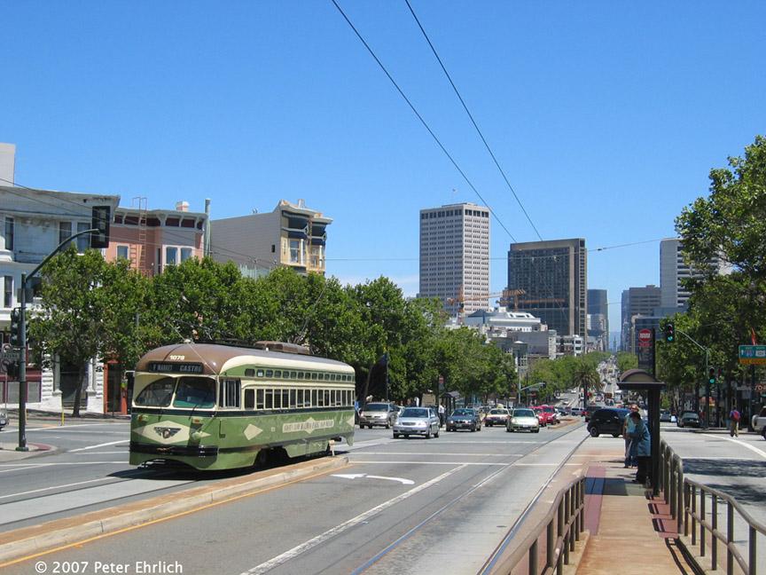 (213k, 864x648)<br><b>Country:</b> United States<br><b>City:</b> San Francisco/Bay Area, CA<br><b>System:</b> SF MUNI<br><b>Location:</b> Market/Laguna/Guerrero/Hermann<br><b>Car:</b> SF MUNI PCC (Ex-NJTransit, Ex-Twin City) (St. Louis Car Co., 1946-1947) 1078 <br><b>Photo by:</b> Peter Ehrlich<br><b>Date:</b> 6/7/2007<br><b>Notes:</b> Market/Laguna outbound.<br><b>Viewed (this week/total):</b> 0 / 616