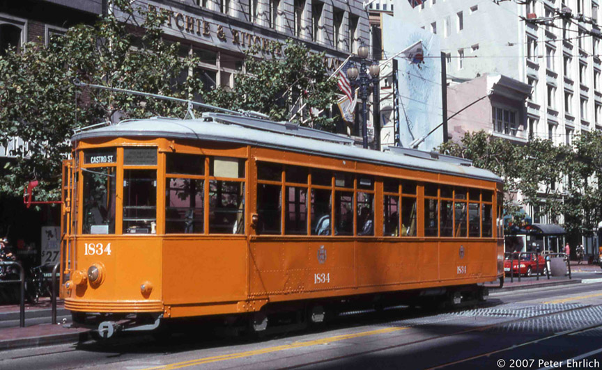 (226k, 864x532)<br><b>Country:</b> United States<br><b>City:</b> San Francisco/Bay Area, CA<br><b>System:</b> SF MUNI<br><b>Location:</b> Market/2nd <br><b>Car:</b> Milan Milano/Peter Witt (1927-1930)  1834 <br><b>Photo by:</b> Peter Ehrlich<br><b>Date:</b> 9/13/1998<br><b>Notes:</b> Market/2nd Street outbound.<br><b>Viewed (this week/total):</b> 0 / 489