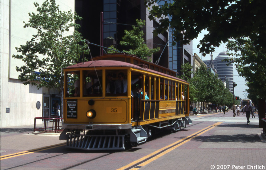 (209k, 864x552)<br><b>Country:</b> United States<br><b>City:</b> Sacramento, CA<br><b>System:</b> SACRT Light Rail<br><b>Location:</b> 8th & K <br><b>Car:</b>  35 <br><b>Photo by:</b> Peter Ehrlich<br><b>Date:</b> 5/3/1991<br><b>Notes:</b> PG&E 35 on the K Street Mall.<br><b>Viewed (this week/total):</b> 0 / 960