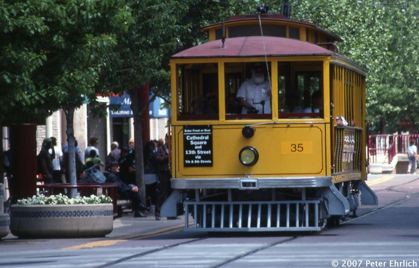 (190k, 864x552)<br><b>Country:</b> United States<br><b>City:</b> Sacramento, CA<br><b>System:</b> SACRT Light Rail<br><b>Location:</b> K Street Mall <br><b>Car:</b>  35 <br><b>Photo by:</b> Peter Ehrlich<br><b>Date:</b> 5/3/1991<br><b>Notes:</b> PG&E 35 on the K Street Mall.<br><b>Viewed (this week/total):</b> 0 / 999