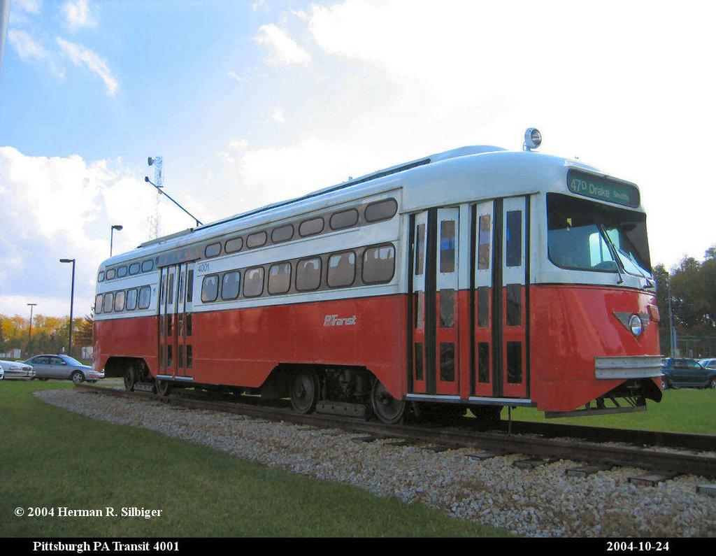 (180k, 1024x795)<br><b>Country:</b> United States<br><b>City:</b> Pittsburgh, PA<br><b>System:</b> PAT <br><b>Location:</b> Bethel Village <br><b>Car:</b> Pittsburgh Railways/PAT PCC 4001 <br><b>Photo by:</b> Herman R. Silbiger<br><b>Date:</b> 10/24/2004<br><b>Notes:</b> PAT PCC 4001 at Bethel Village shops.<br><b>Viewed (this week/total):</b> 3 / 1213