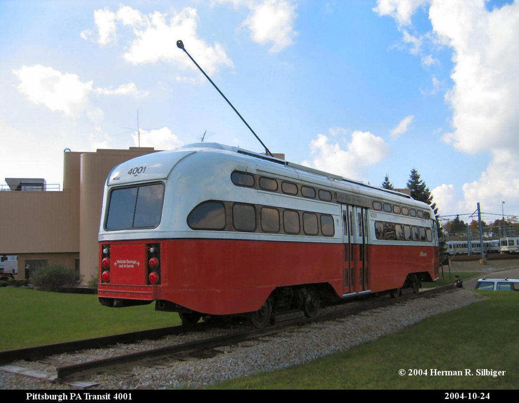 (174k, 1024x795)<br><b>Country:</b> United States<br><b>City:</b> Pittsburgh, PA<br><b>System:</b> PAT <br><b>Location:</b> Bethel Village <br><b>Car:</b> Pittsburgh Railways/PAT PCC 4001 <br><b>Photo by:</b> Herman R. Silbiger<br><b>Date:</b> 10/24/2004<br><b>Notes:</b> PAT PCC 4001 at Bethel Village shops.<br><b>Viewed (this week/total):</b> 2 / 1165